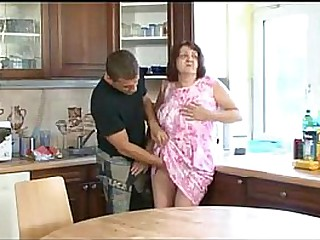 Old Fat Granny Fucked on the Kitchen Table